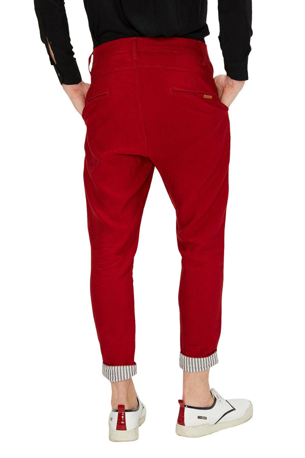 Striped Cuff Pants - Red