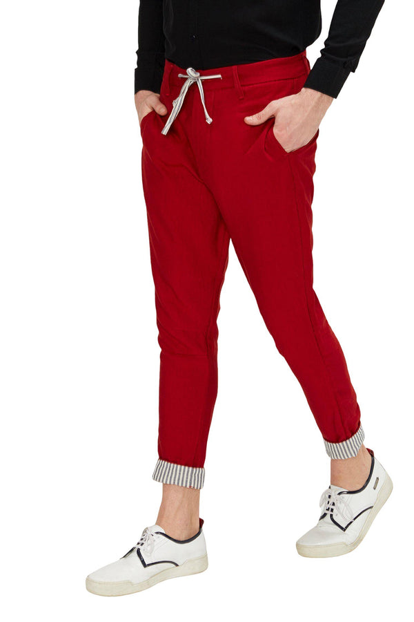 Striped Cuff Pants - Red - Ron Tomson