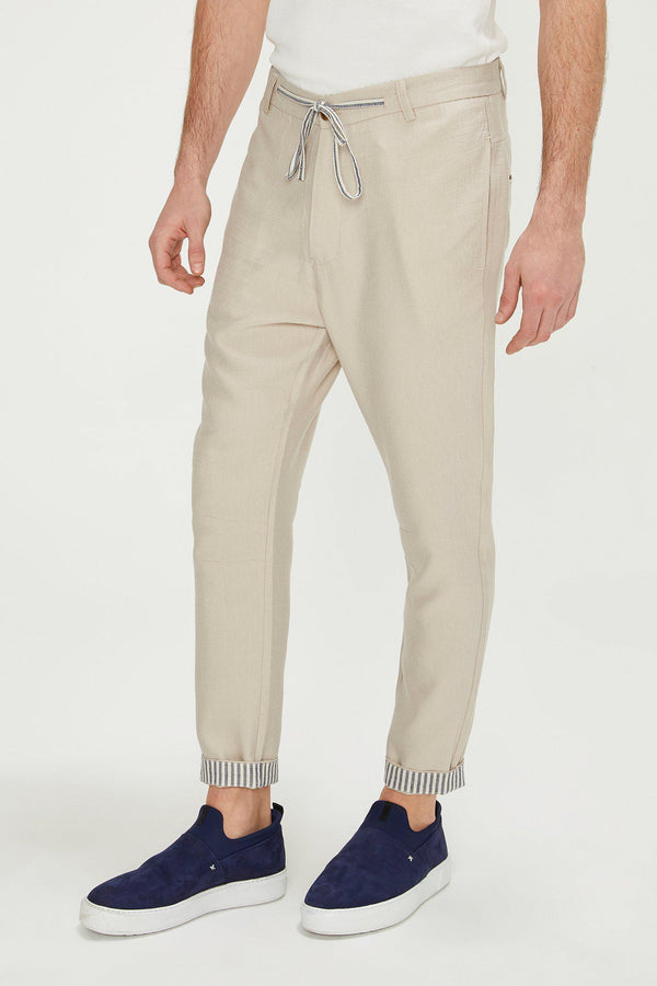 Striped Cuff Pants - Stone - Ron Tomson
