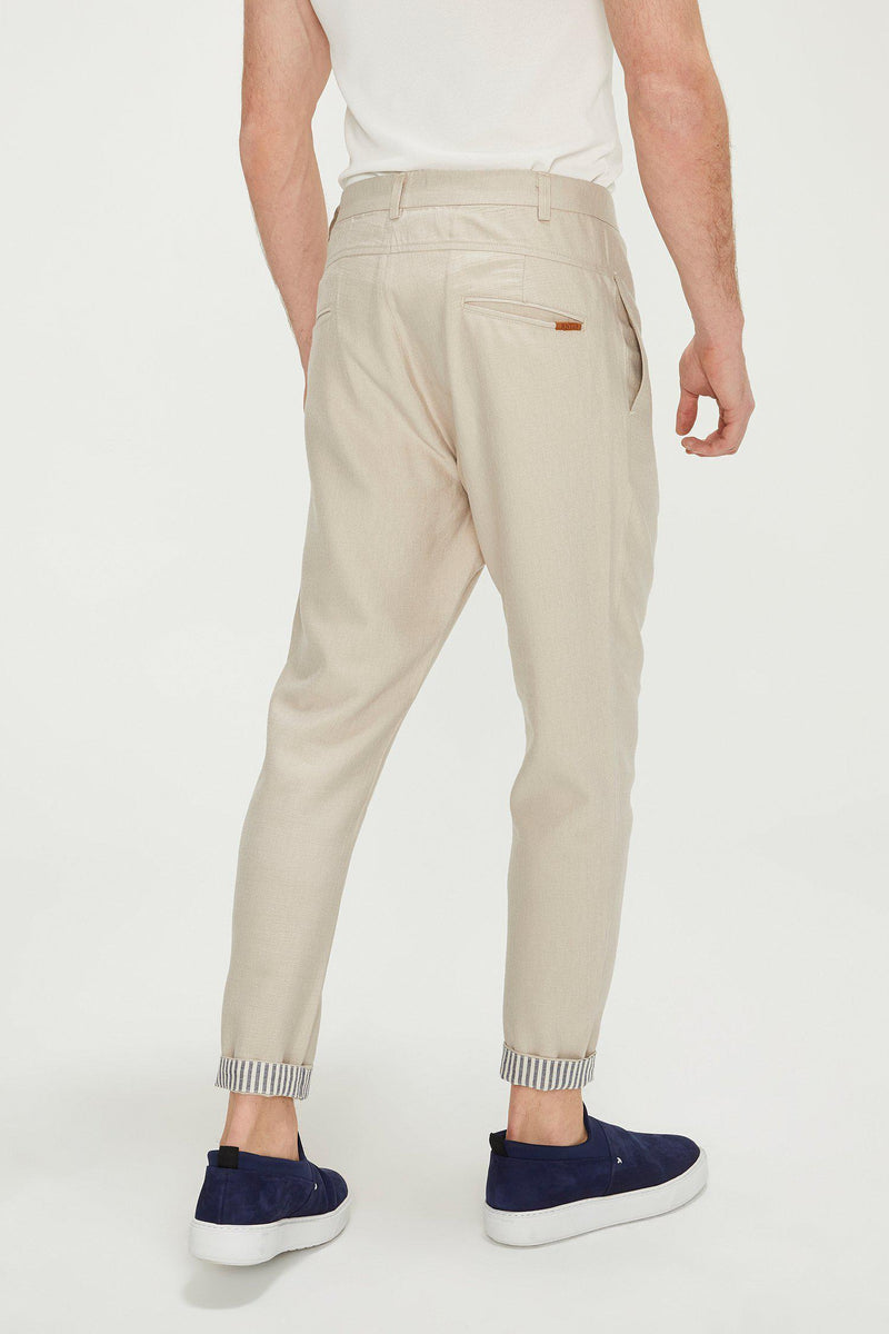 Striped Cuff Pants - Stone