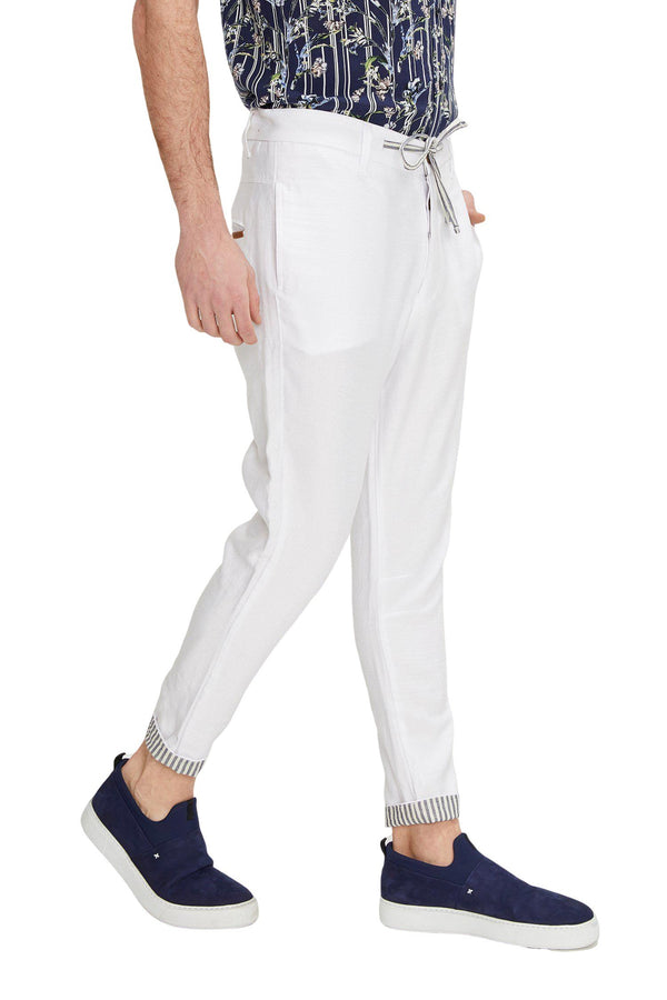 Striped Cuff Pants - White - Ron Tomson