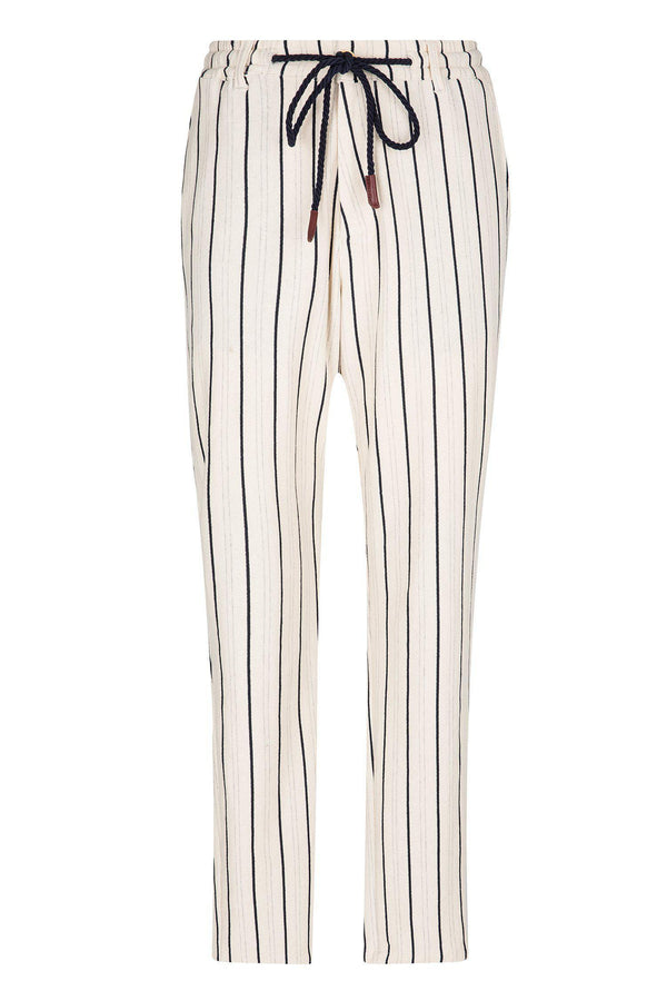 Striped Nautical Trouser - Stone - Ron Tomson