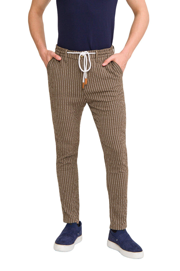 Striped Pants - Khaki - Ron Tomson