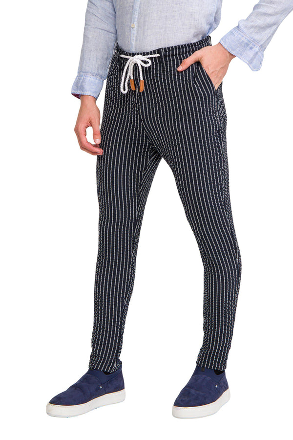 Striped Pants - Navy White