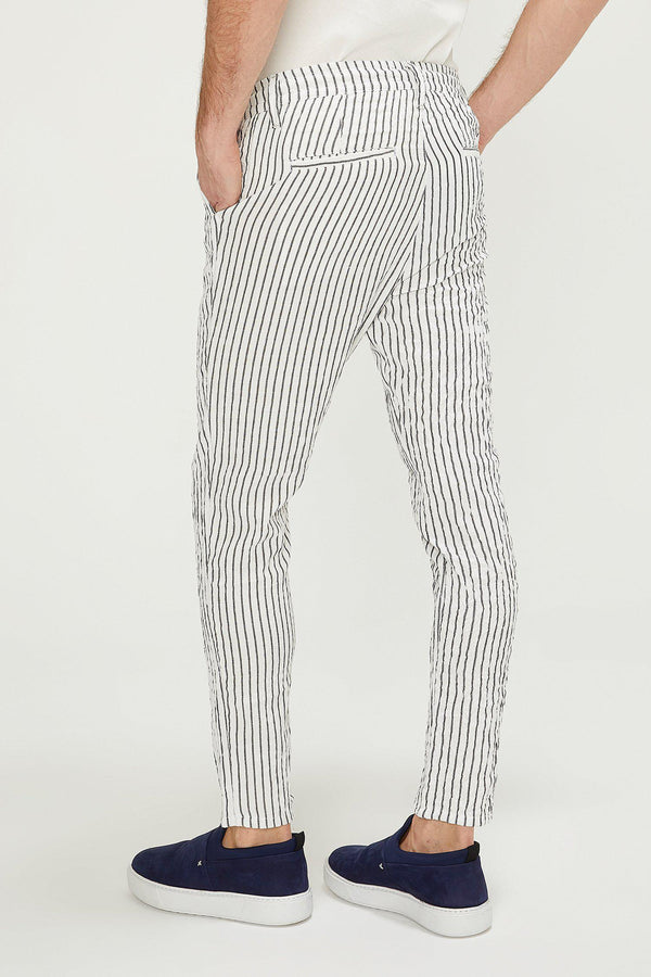 Striped Pants - White Black - Ron Tomson