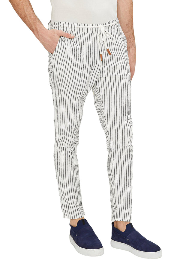Striped Pants - White Black