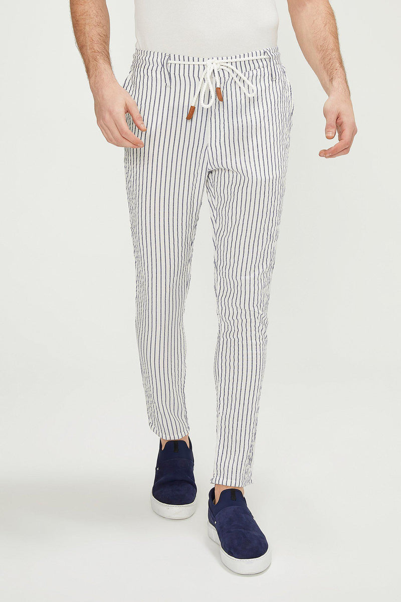Striped Pants - White Navy