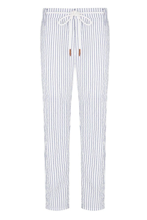 Striped Pants - White Navy - Ron Tomson