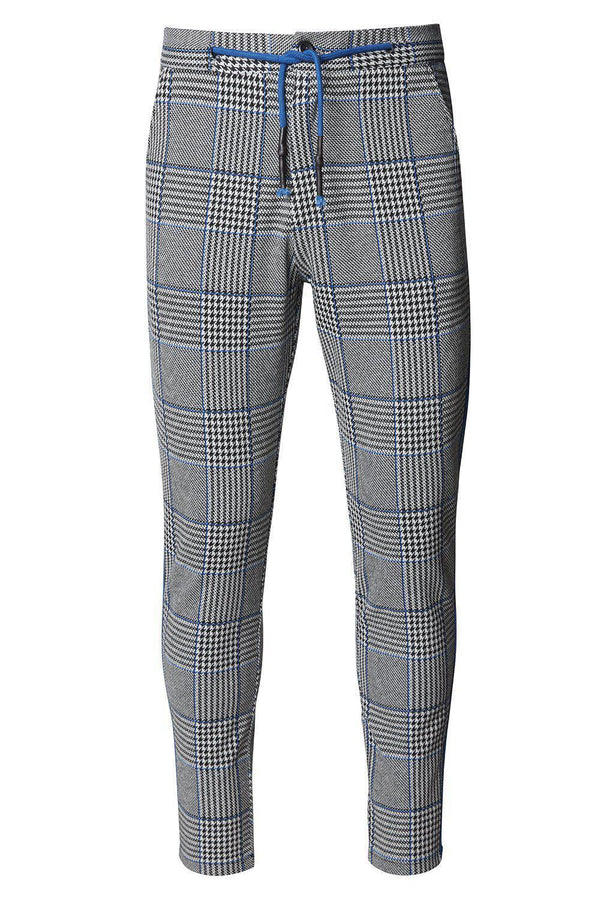 Striped Plaid Track Pants - Black Sax