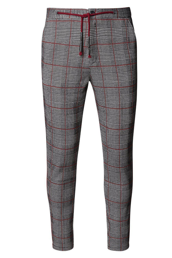 Striped Plaid Track Pants - Black Wine