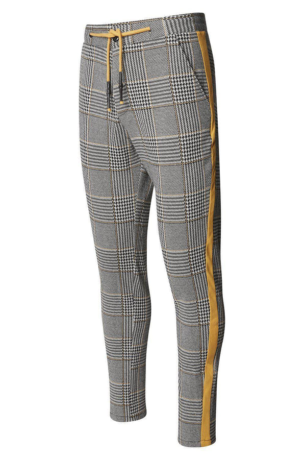 Striped Plaid Track Pants - Black Yellow