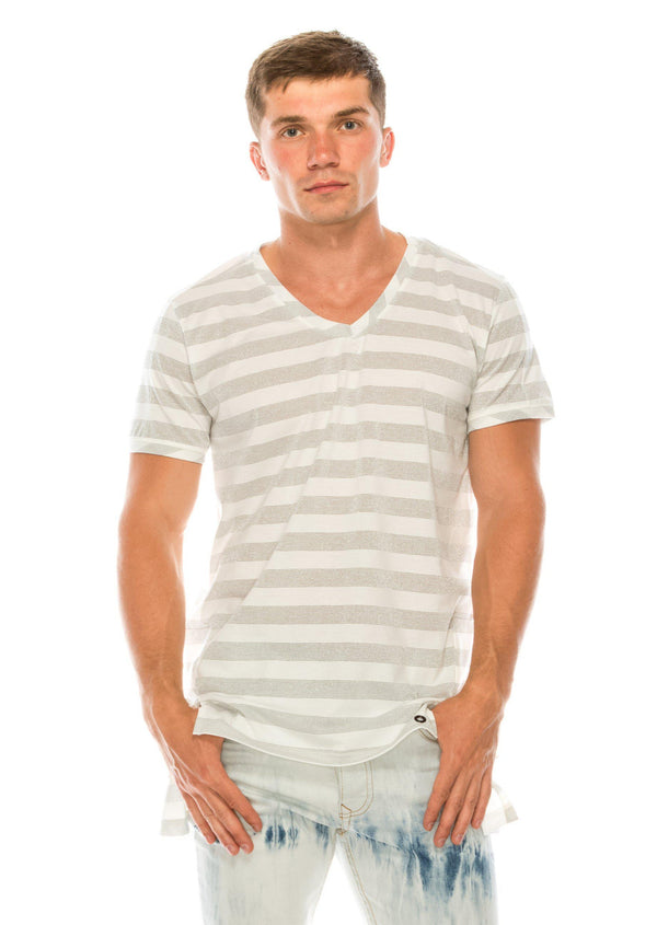 Striped V-neck T-shirt - Cream - Ron Tomson