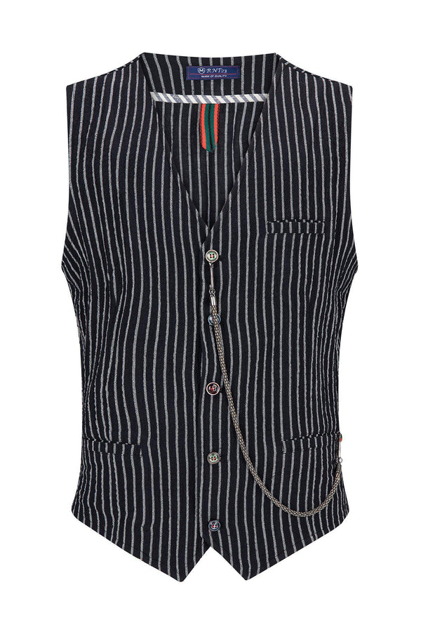 Striped Vest - Black White - Ron Tomson