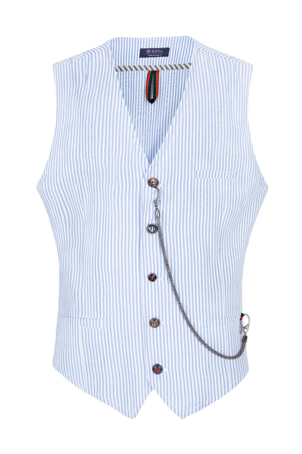 Striped Vest - Blue - Ron Tomson