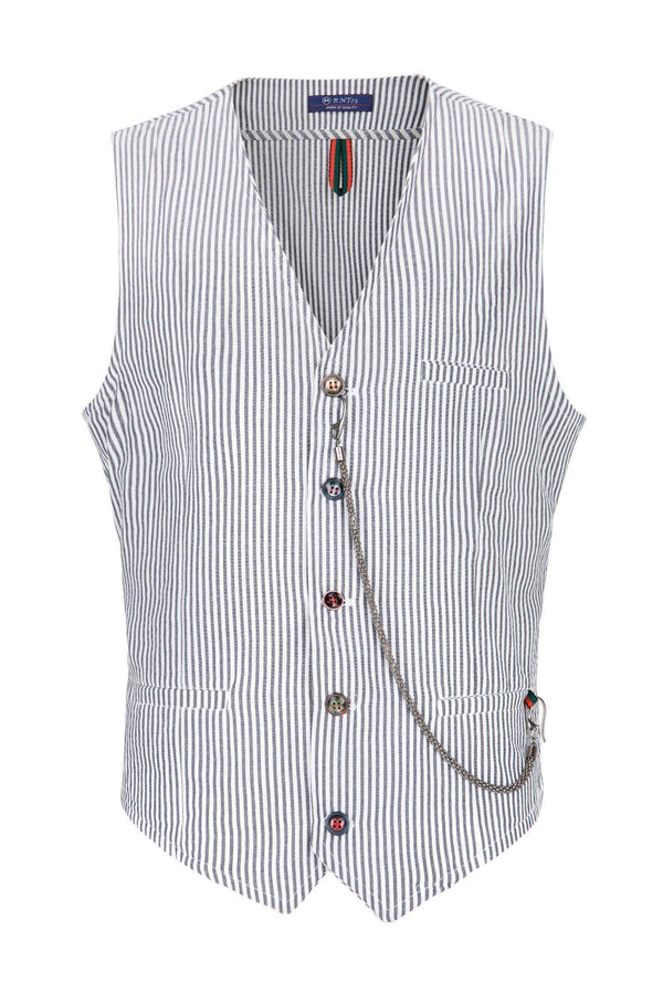 Striped Vest - Dark Navy - Ron Tomson