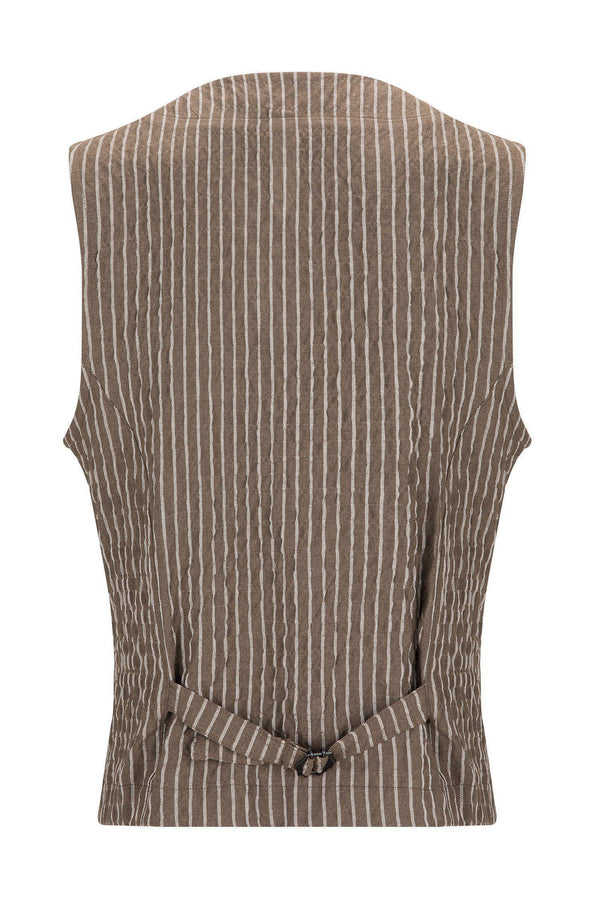 Striped Vest - KHAKI - Ron Tomson