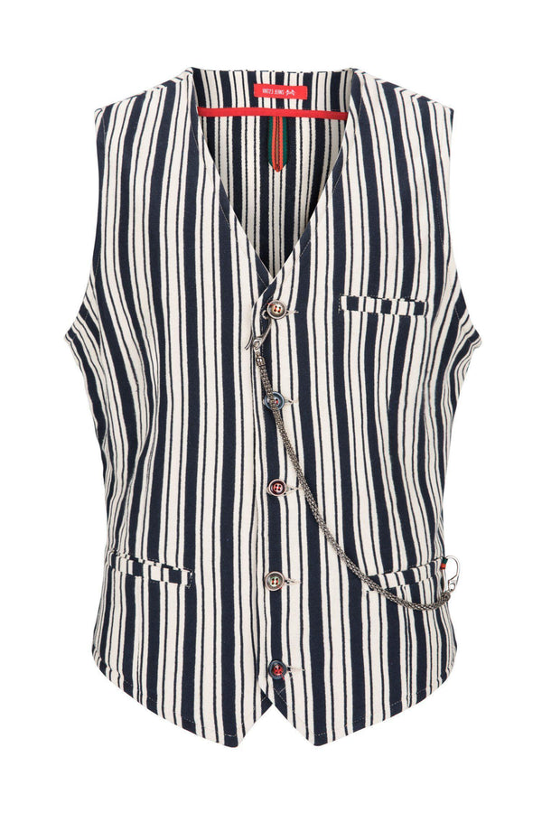 Striped Vest - Navy