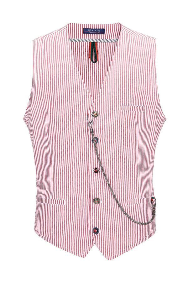 Striped Vest - Red - Ron Tomson