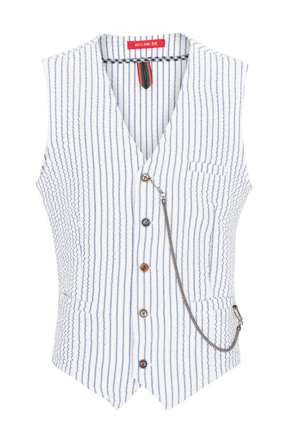 Striped Vest - White Navy - Ron Tomson