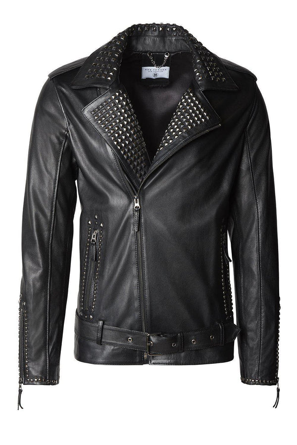 Studded Leather Jacket - Black Falcon