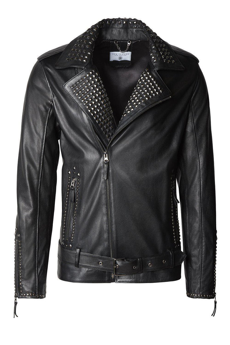 Studded Leather Jacket - Black Falcon - Ron Tomson