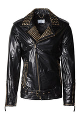 Studded Leather Jacket  - Black Gold - Ron Tomson