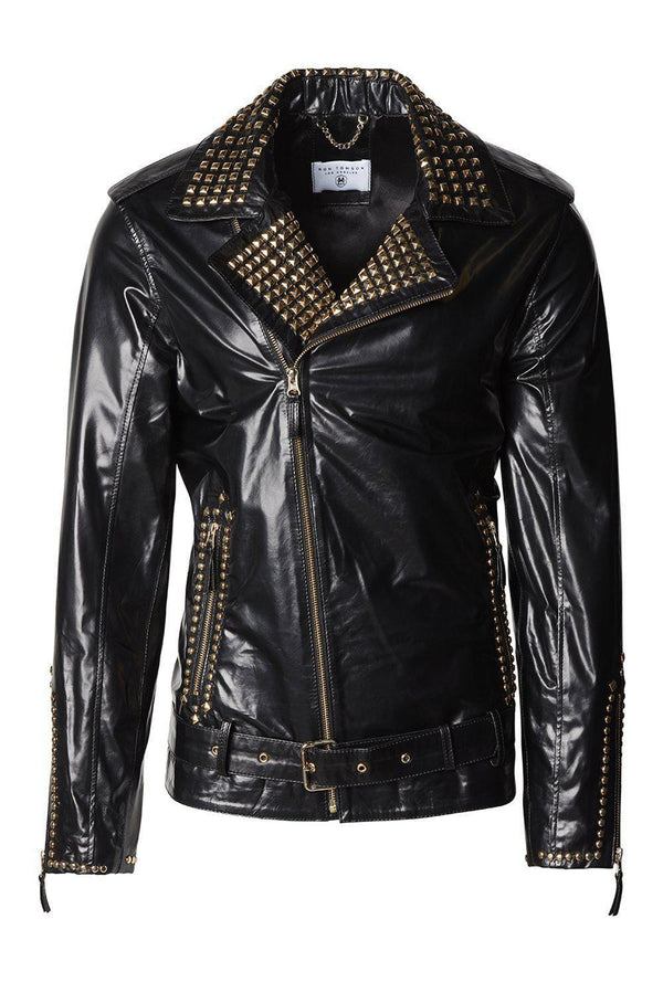 Studded Leather Jacket  - Black Gold