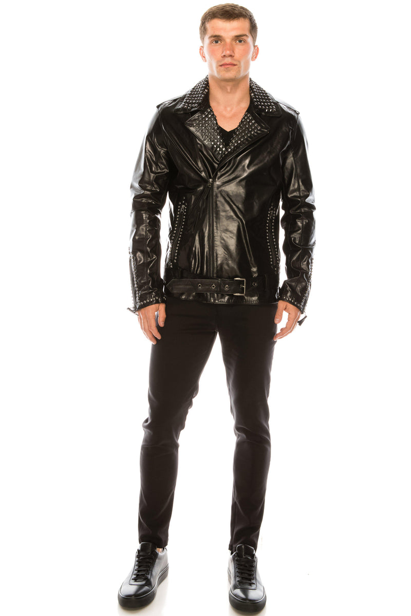Studded Leather Jacket - Black silver - Ron Tomson