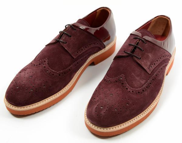 Suede and Patent Wingtip Shoes - Burgundy
