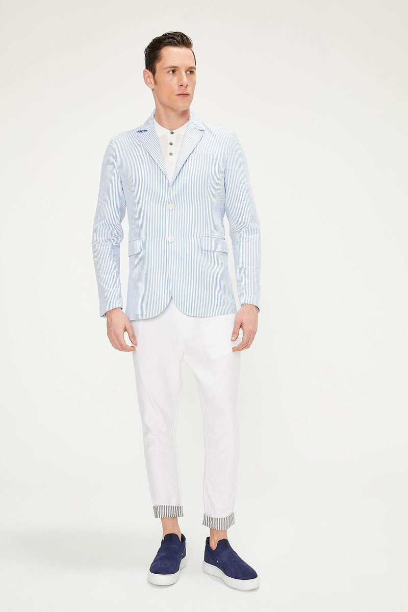 SUMMER STRIPED BLAZER - BLUE - Ron Tomson