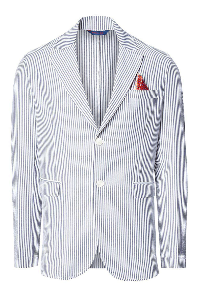 SUMMER STRIPED BLAZER - DARK NAVY - Ron Tomson