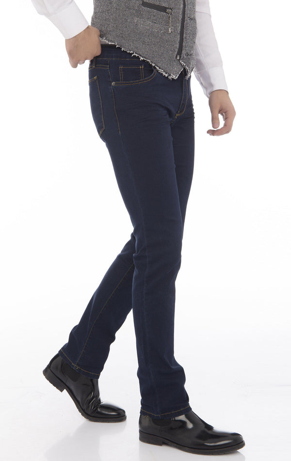 Super Stretch Tapered Jeans - Navy - Ron Tomson
