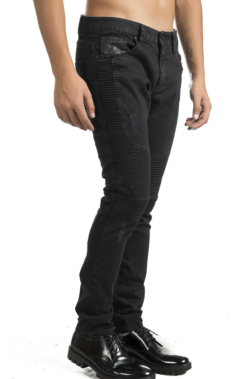 Tapered Washed Moto Jeans - Black - Ron Tomson