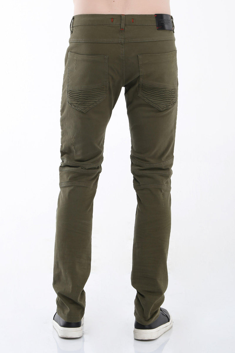 Tapered Washed Moto Jeans - Green - Ron Tomson