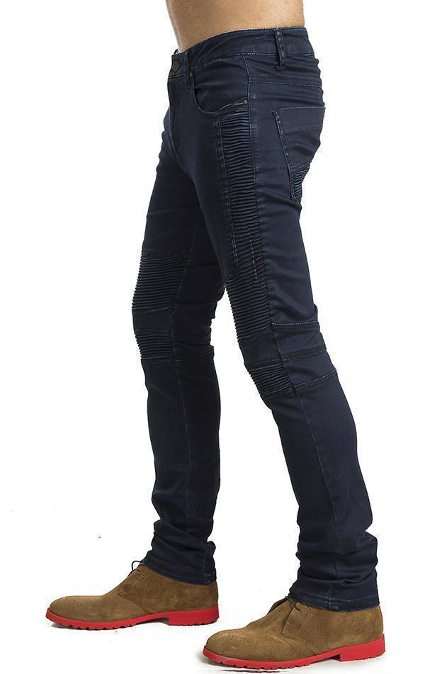 Tapered Washed Moto Jeans - Navy