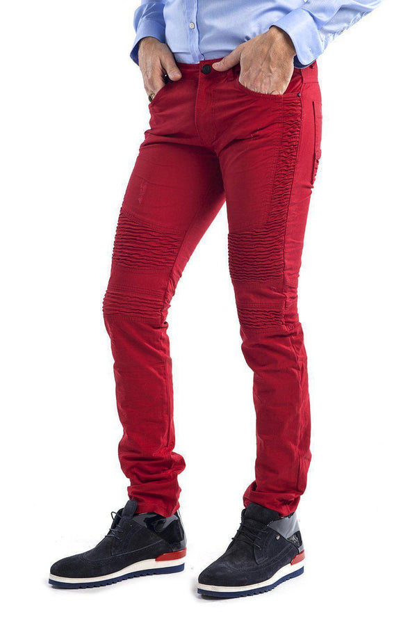 Side Quilted Skinny Washed Moto Jeans - More Colors-Jeans-Ron Tomson-RED-29-Ron Tomson