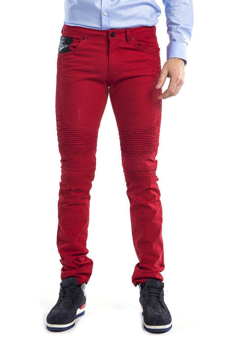 Tapered Washed Moto Jeans - Red - Ron Tomson