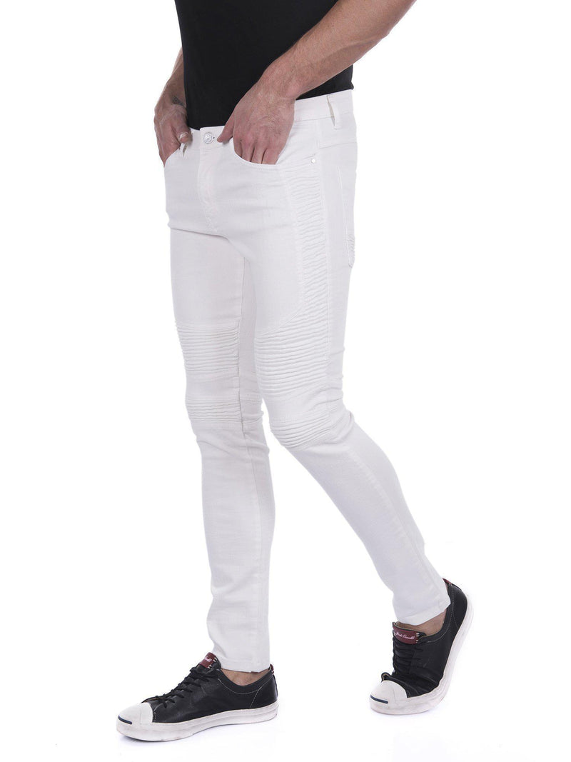 Tapered Washed Moto Jeans - White - Ron Tomson