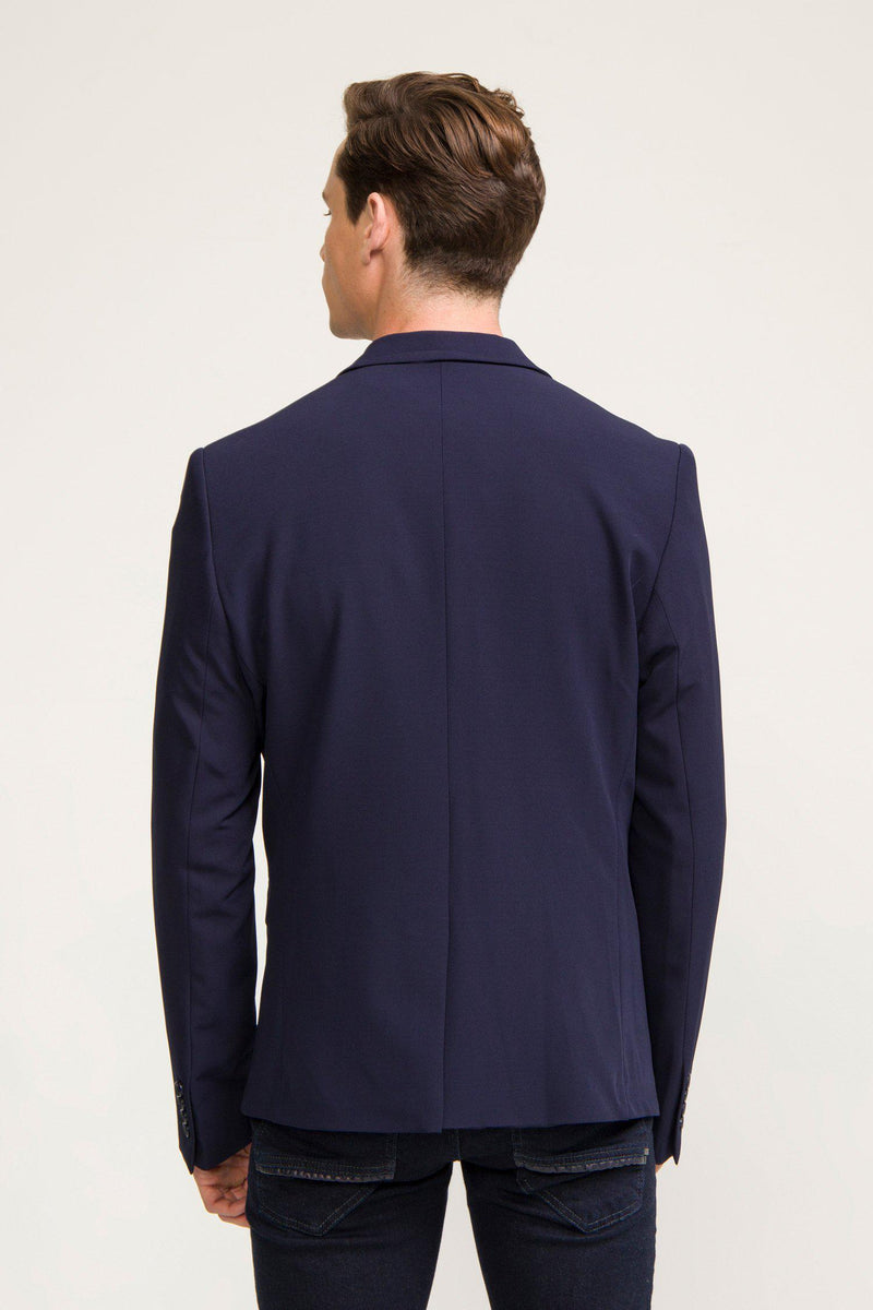 Tech Two Button Blazer - Navy - Ron Tomson