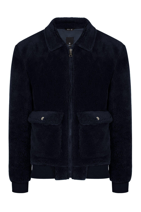 Teddy Bomber Jacket - Navy - Ron Tomson
