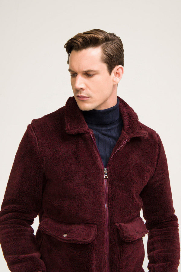 Teddy Bomber Jacket - Wine - Ron Tomson