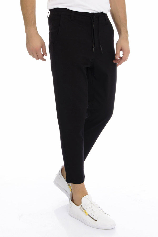Textured Cropped Track Pants - Black - Ron Tomson