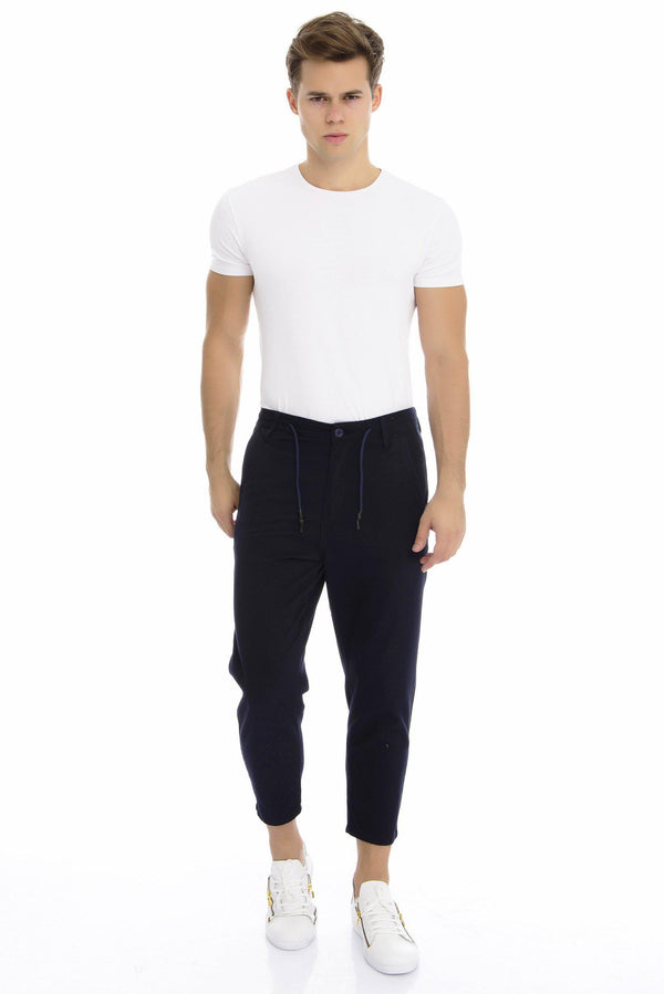 Textured Cropped Track Pants - Navy - Ron Tomson