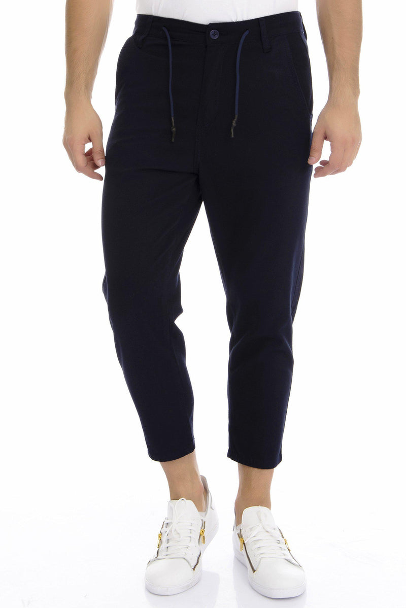Textured Cropped Jogger - more colors-Jeans-Ron Tomson-NAVY-S-Ron Tomson