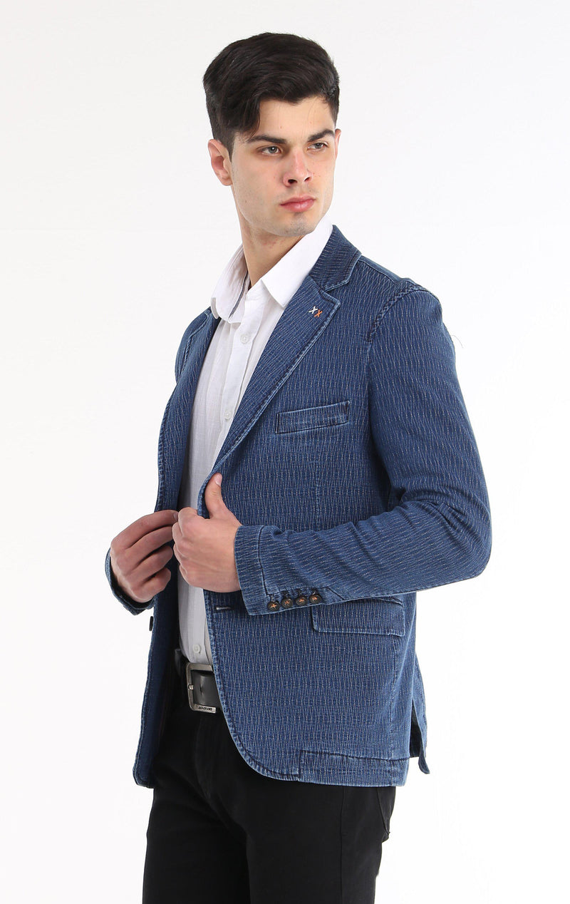 TEXTURED FITTED SPORT COAT - NAVY