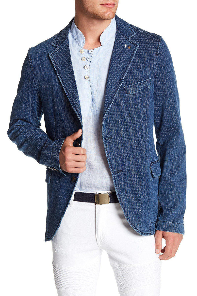 Textured Fitted Sport Coat-Jackets-Ron Tomson-NAVY-M/38-Ron Tomson