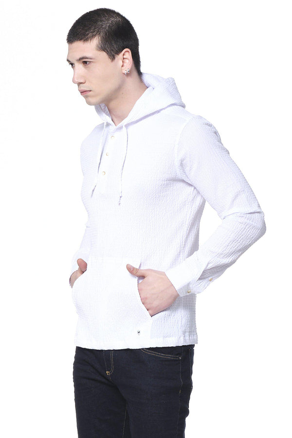 Textured Hooded Shirt - White - Ron Tomson