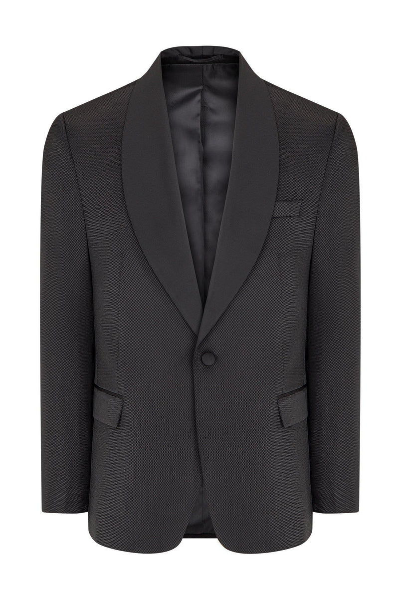 Textured Shawl Lapel Tuxedo - Black - Ron Tomson