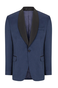 Textured Stretch Shawl Lapel Tuxedo - NAVY