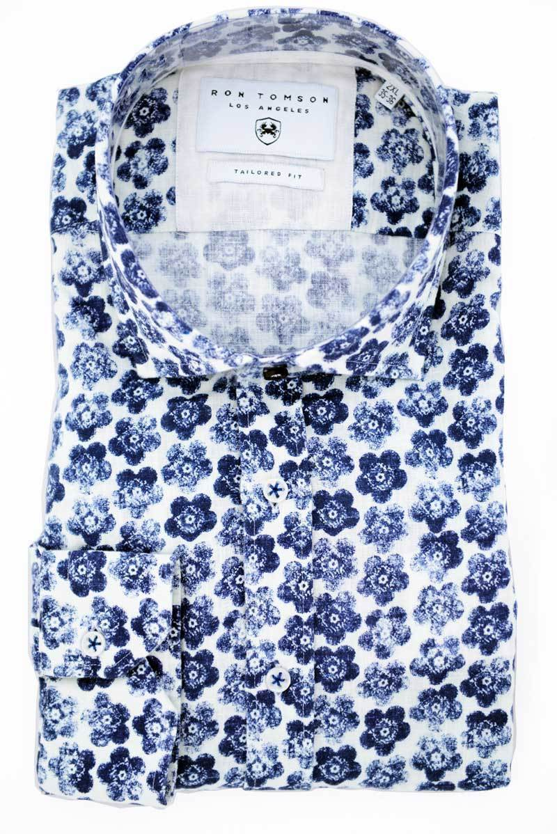 Allover Printed Fitted Linen Shirt - Brown-Casual Shirts-Ron Tomson-ECRU NAVY-S-Ron Tomson
